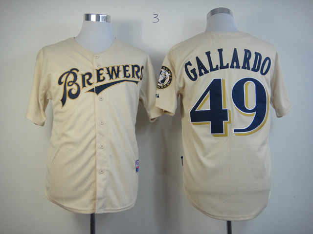 Men Milwaukee Brewers 49 Gallardo Cream MLB Jerseys