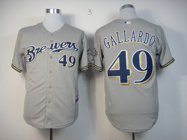 Men Milwaukee Brewers 49 Gallardo Grey MLB Jerseys