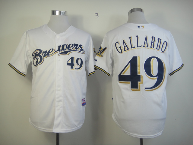Men Milwaukee Brewers 49 Gallardo Whtie MLB Jerseys