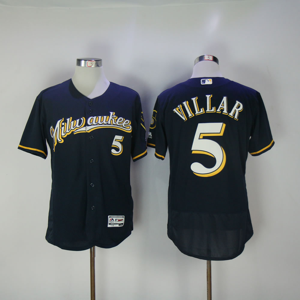 Men Milwaukee Brewers 5 Villar Blue Elite MLB Jerseys