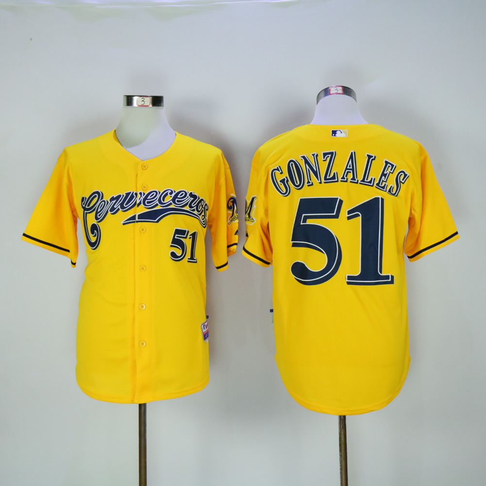 Men Milwaukee Brewers 51 Gonzales Yellow MLB Jerseys