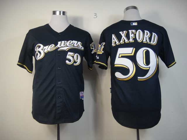 Men Milwaukee Brewers 59 Axford Blue MLB Jerseys