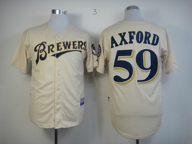 Men Milwaukee Brewers 59 Axford Cream MLB Jerseys