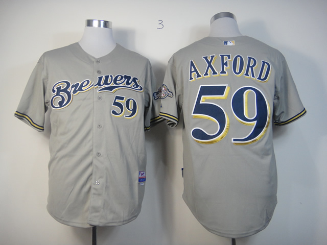 Men Milwaukee Brewers 59 Axford Grey MLB Jerseys