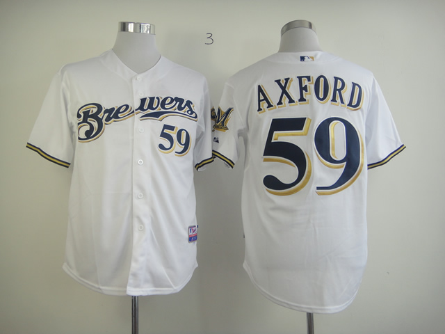 Men Milwaukee Brewers 59 Axford White MLB Jerseys