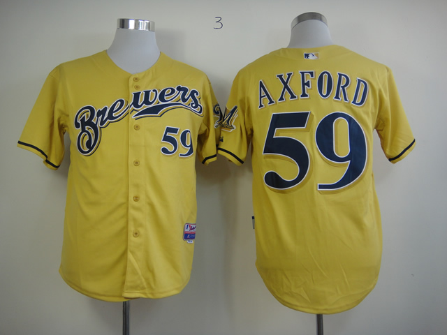 Men Milwaukee Brewers 59 Axford Yellow MLB Jerseys