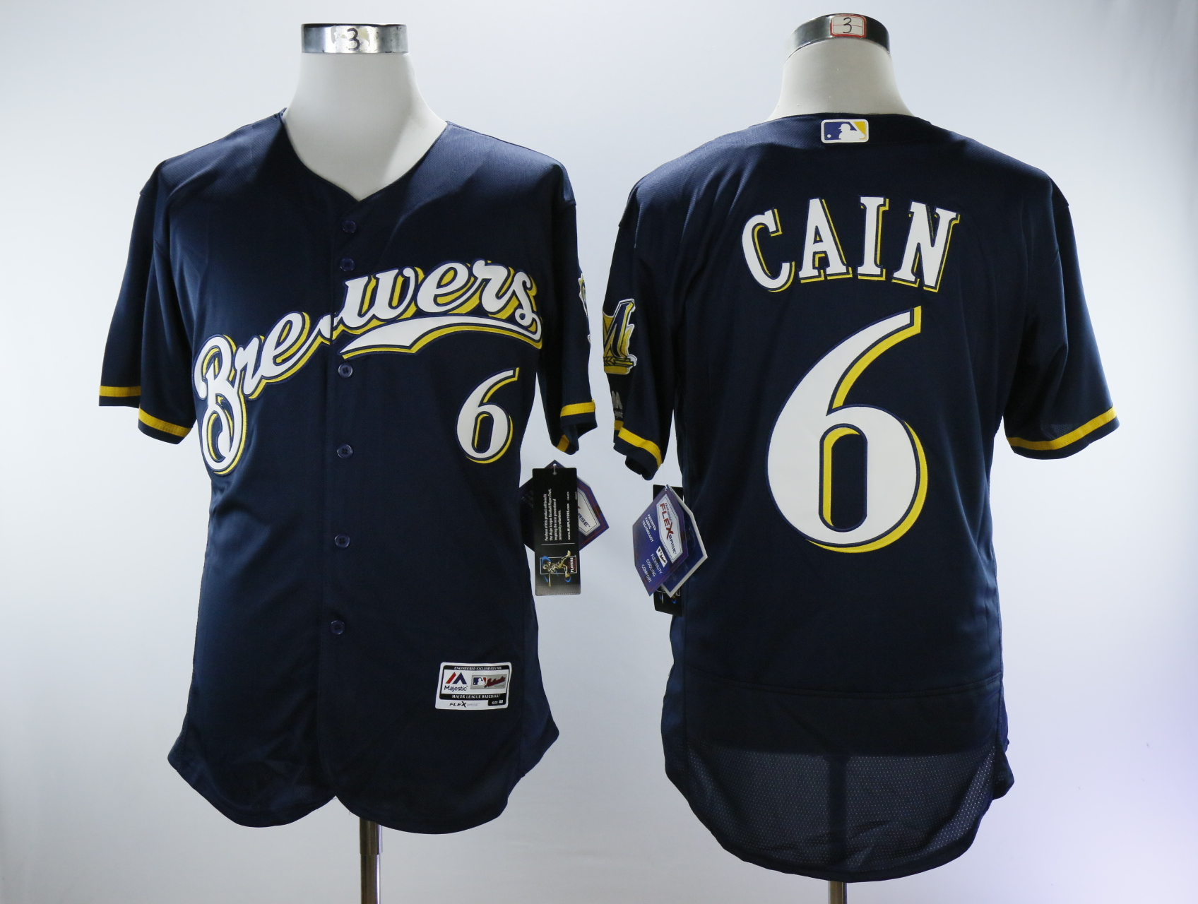 Men Milwaukee Brewers 6 Cain Blue Elite MLB Jerseys