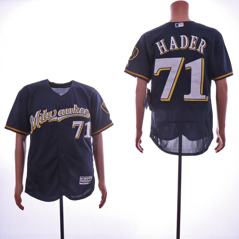 Men Milwaukee Brewers 71 Hader Blue Game MLB Jerseys