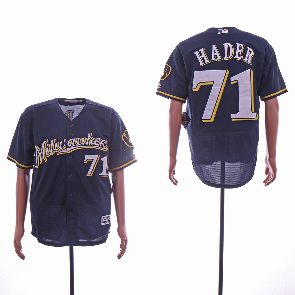 Men Milwaukee Brewers 71 Hader Blue MLB Jerseys