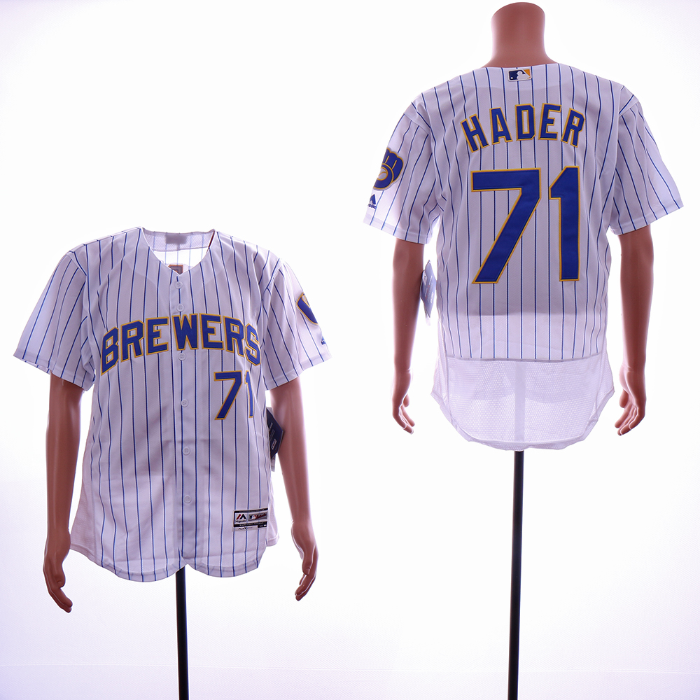 Men Milwaukee Brewers 71 Hader White Elite MLB Jerseys