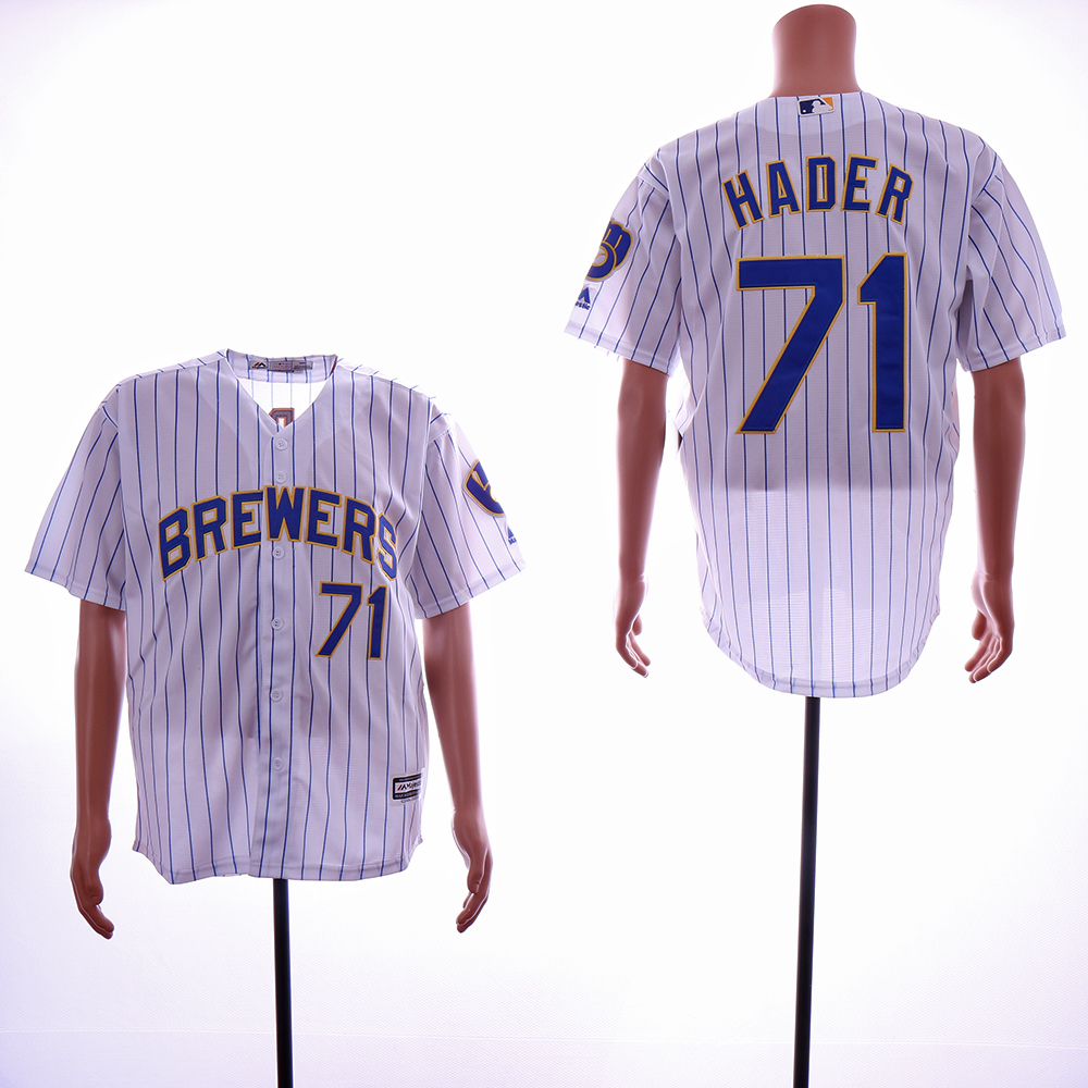 Men Milwaukee Brewers 71 Hader White Game MLB Jerseys