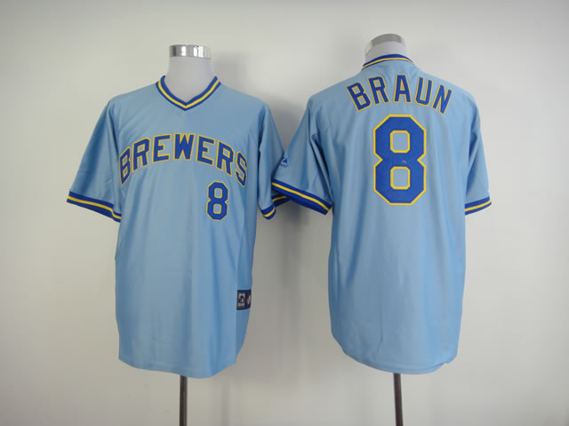 Men Milwaukee Brewers 8 Braun Blue Throwback MLB Jerseys
