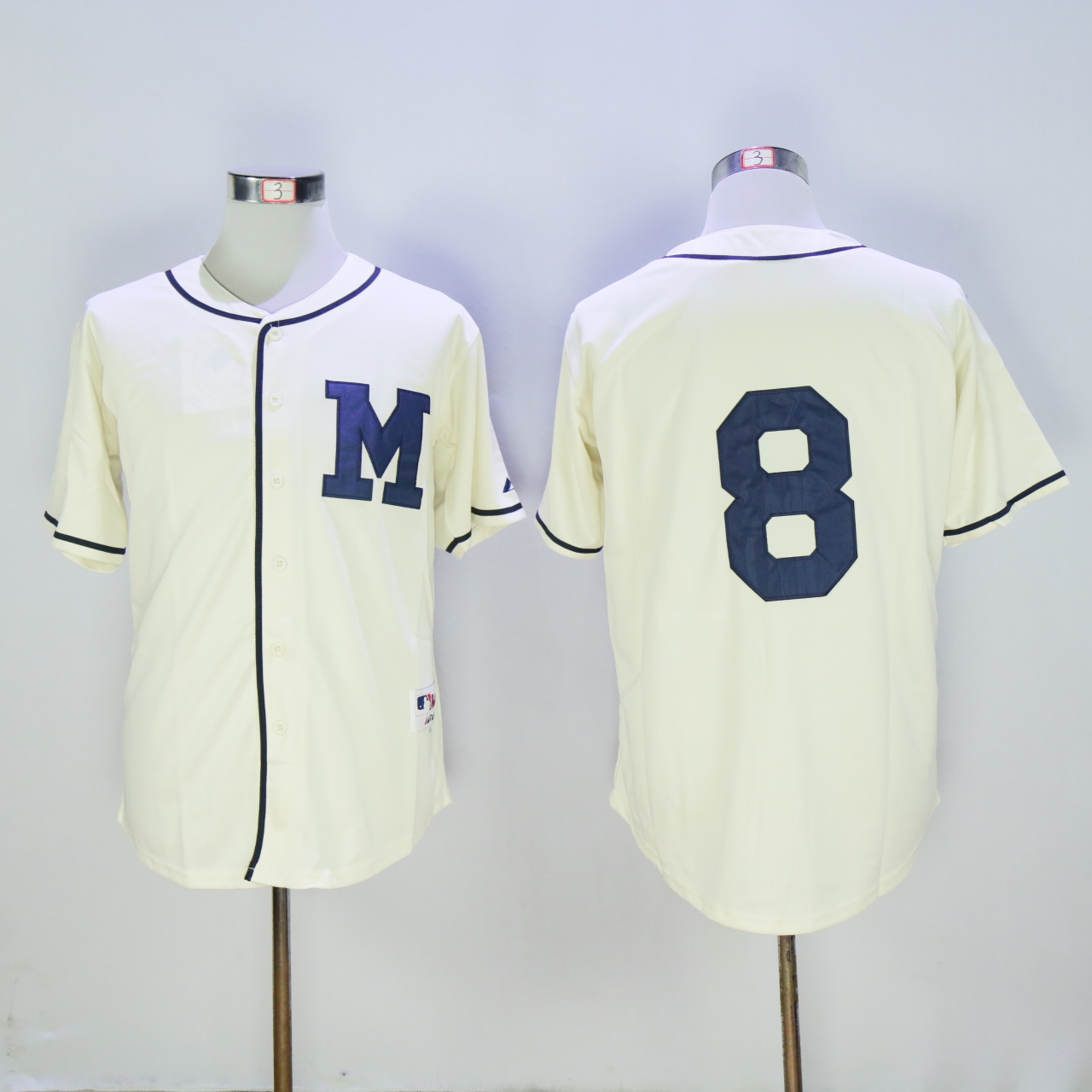 Men Milwaukee Brewers 8 Braun Cream 1913 MLB Jerseys