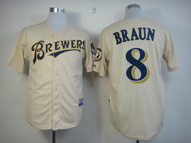 Men Milwaukee Brewers 8 Braun Cream MLB Jerseys
