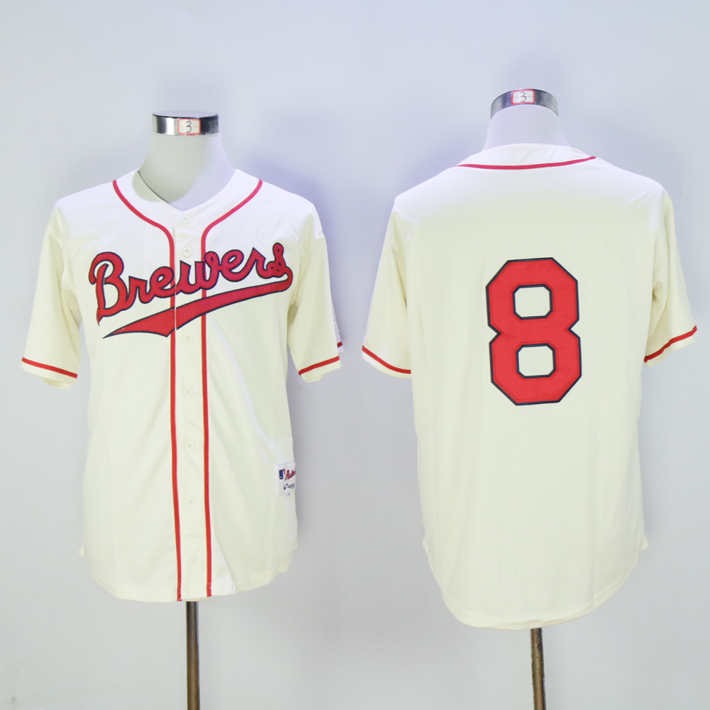 Men Milwaukee Brewers 8 Braun Cream Throwback MLB Jerseys