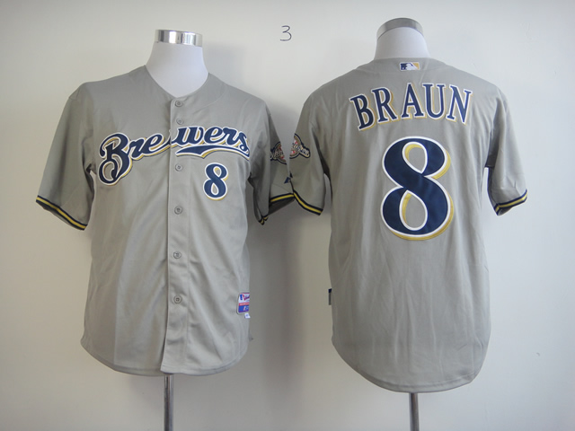 Men Milwaukee Brewers 8 Braun Grey MLB Jerseys