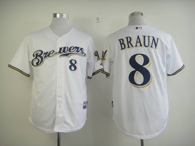 Men Milwaukee Brewers 8 Braun White MLB Jerseys
