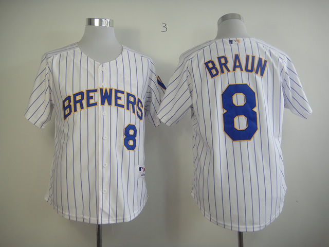 Men Milwaukee Brewers 8 Braun White Stripe MLB Jerseys