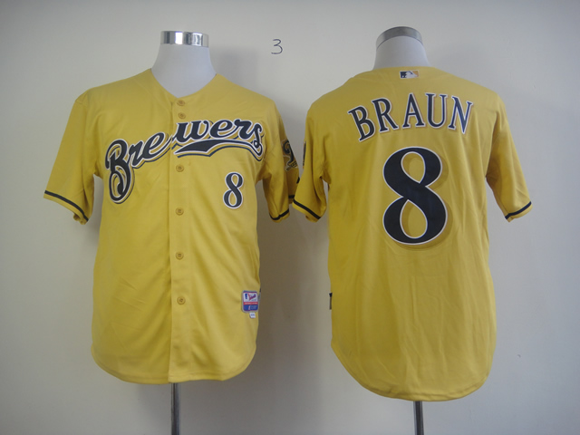 Men Milwaukee Brewers 8 Braun Yellow MLB Jerseys