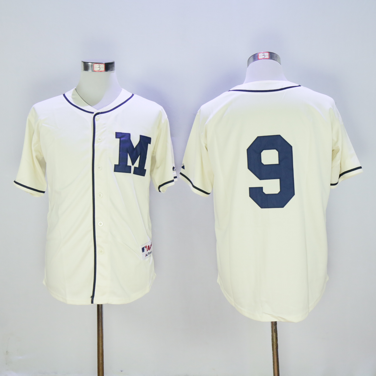Men Milwaukee Brewers 9 Segura Cream 1913 MLB Jerseys