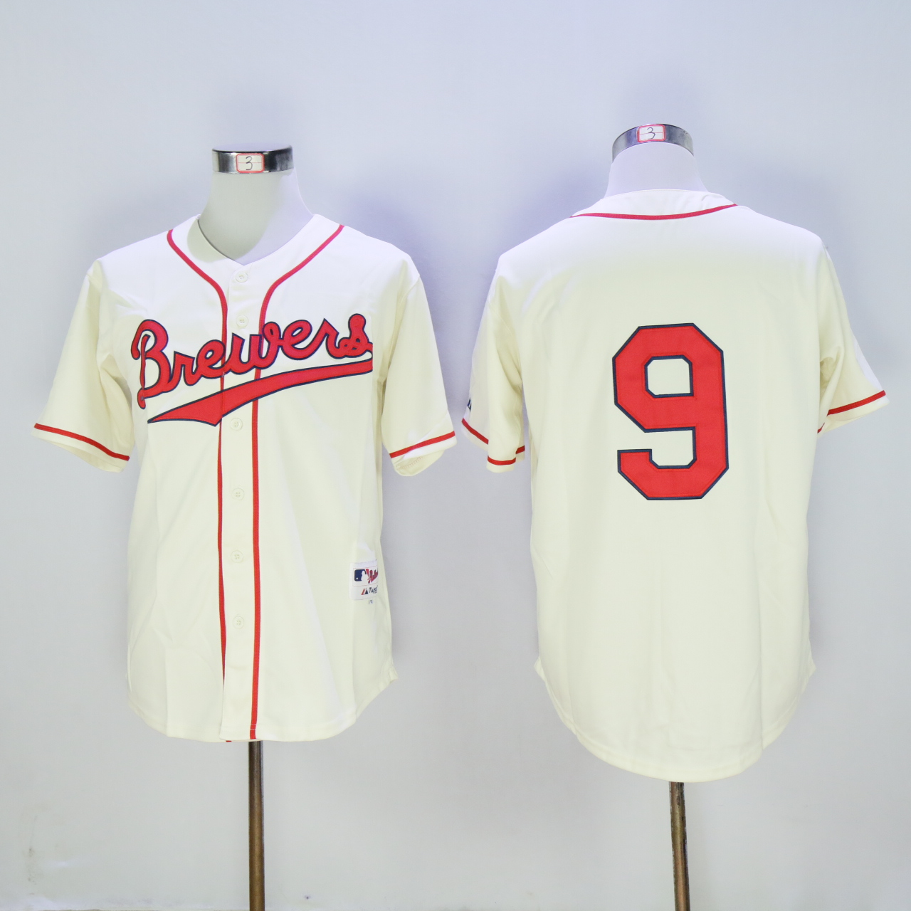 Men Milwaukee Brewers 9 Segura Cream Throwback 1942 MLB Jerseys