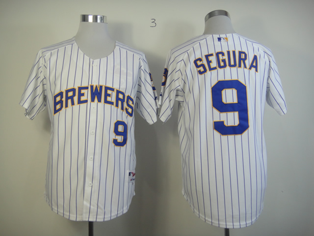 Men Milwaukee Brewers 9 Segura White Stripe MLB Jerseys
