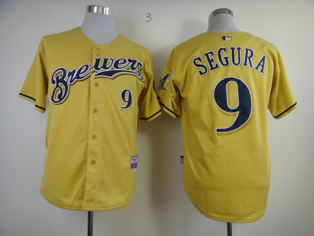 Men Milwaukee Brewers 9 Segura Yellow MLB Jerseys