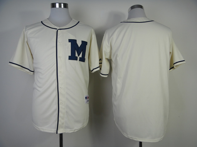 Men Milwaukee Brewers Blank Cream Throwback 1913 MLB Jerseys
