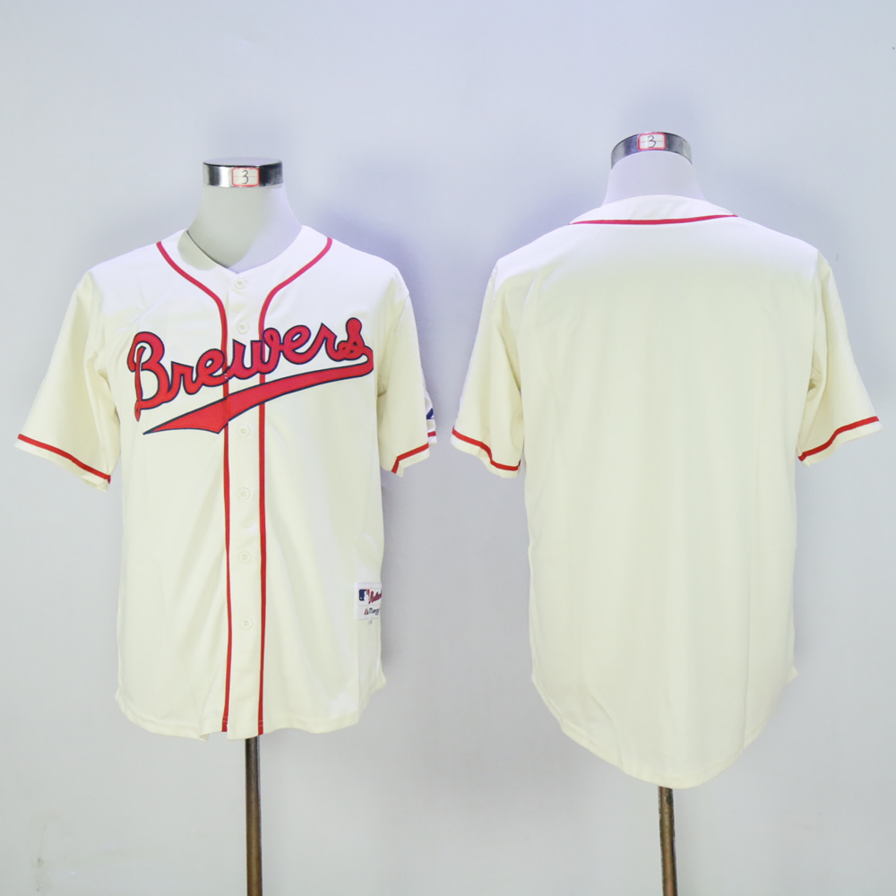 Men Milwaukee Brewers Blank Cream Throwback 1948 MLB Jerseys