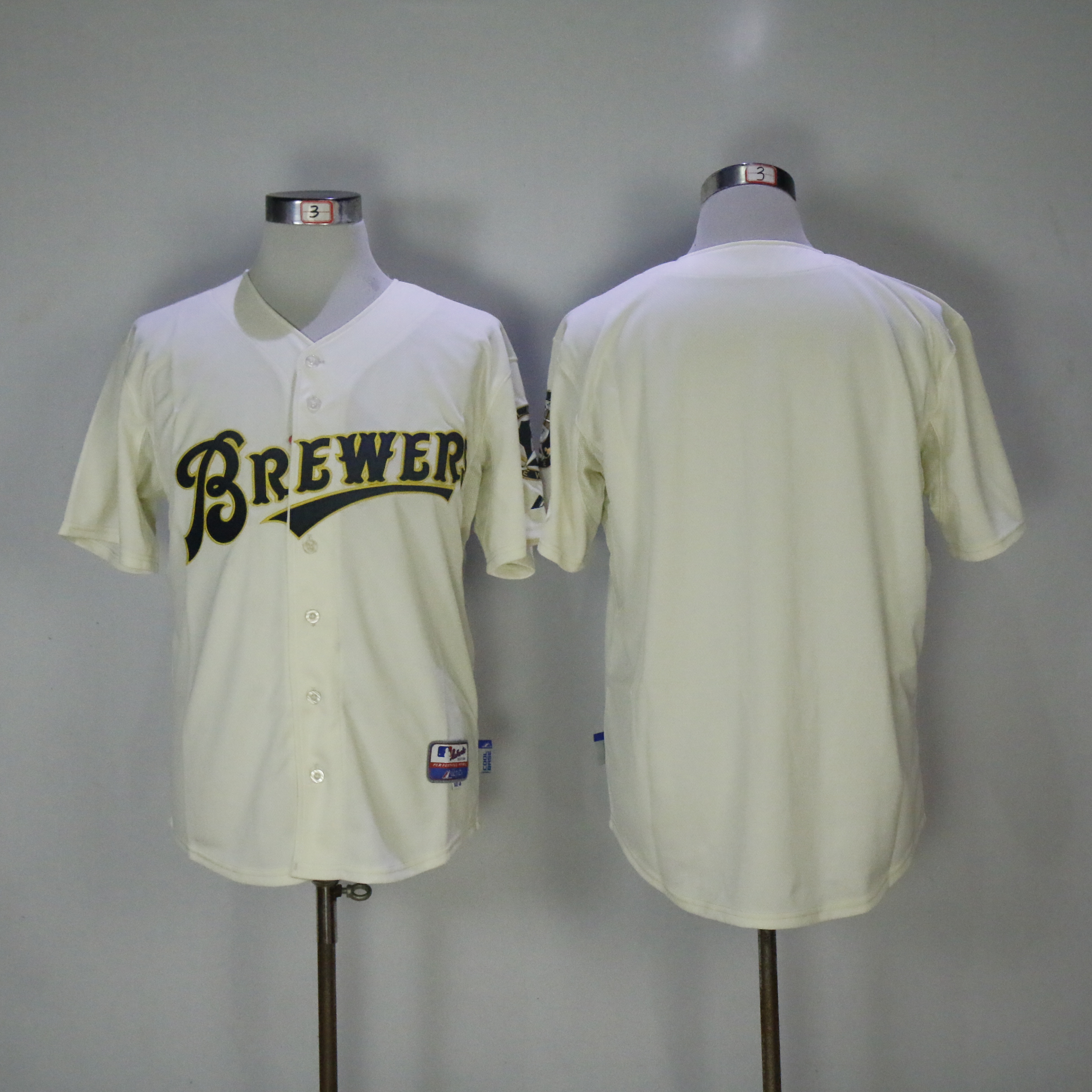 Men Milwaukee Brewers Blank Cream Throwback MLB Jerseys