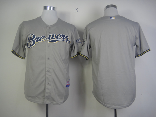 Men Milwaukee Brewers Blank Grey MLB Jerseys