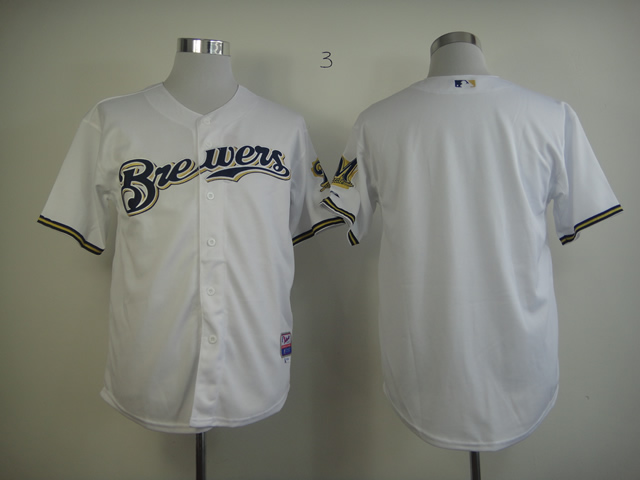 Men Milwaukee Brewers Blank White MLB Jerseys