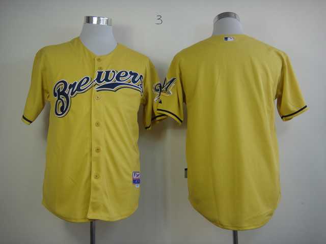 Men Milwaukee Brewers Blank Yellow MLB Jerseys