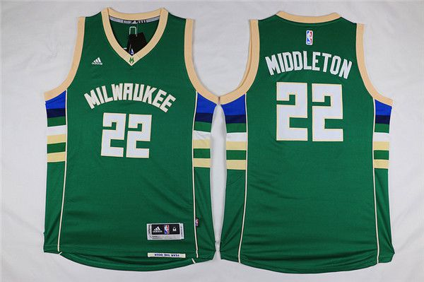 Men Milwaukee Bucks 22 Middleton Green Adidas NBA Jersey