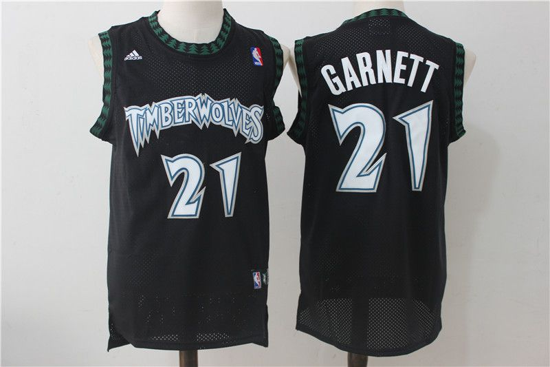 Men Minnesota Timberwolves 21 Garnett Black Adidas NBA Jerseys