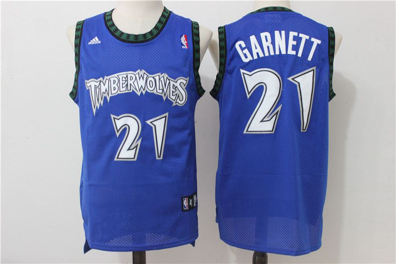 Men Minnesota Timberwolves 21 Garnett Blue Adidas NBA Jerseys