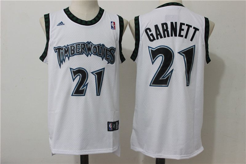 Men Minnesota Timberwolves 21 Garnett White Adidas NBA Jerseys