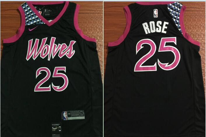 Men Minnesota Timberwolves 25 Rose Black City Edition Nike Game NBA Jerseys