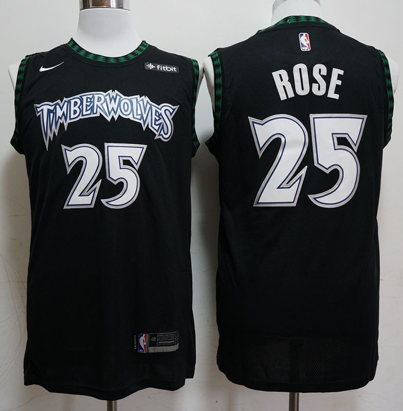 Men Minnesota Timberwolves 25 Rose Black Nike Game NBA Jerseys