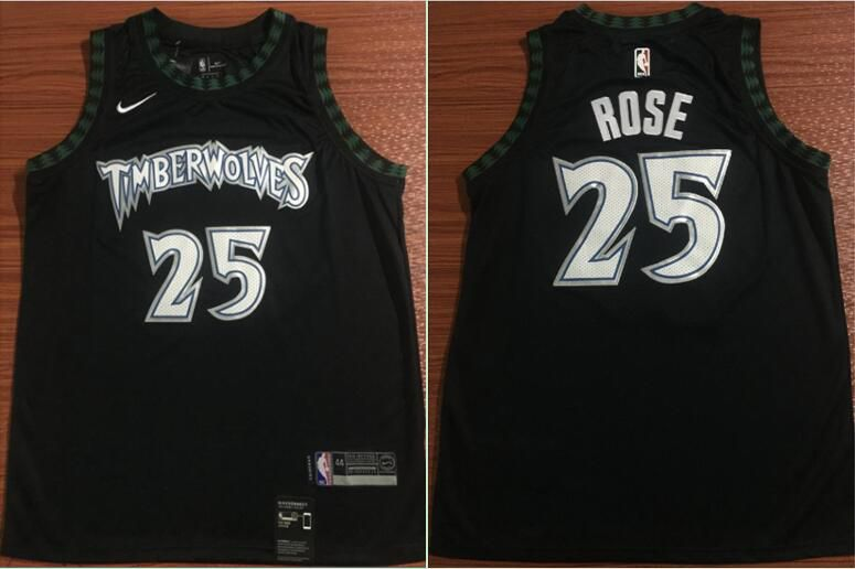 Men Minnesota Timberwolves 25 Rose Black Nike NBA Jerseys