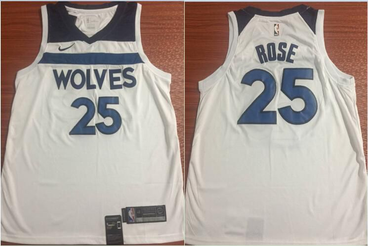 Men Minnesota Timberwolves 25 Rose White Nike NBA Jerseys