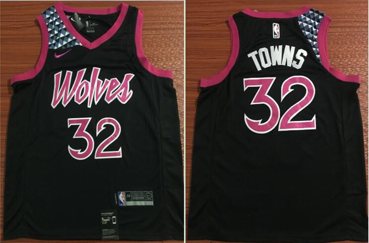 Men Minnesota Timberwolves 32 Towns Black City Edition Nike Game NBA Jerseys