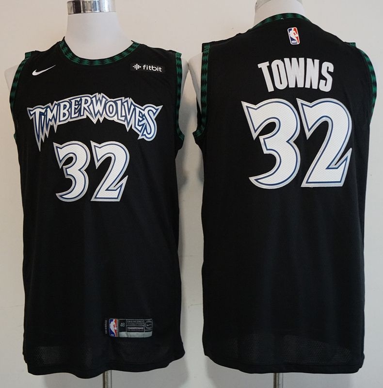 Men Minnesota Timberwolves 32 Towns Black Nike Game NBA Jerseys