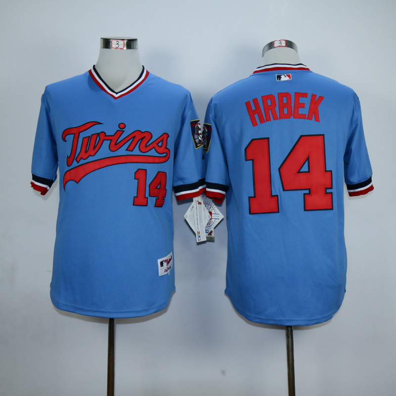 Men Minnesota Twins 14 Hrbek Blue Throwback MLB Jerseys