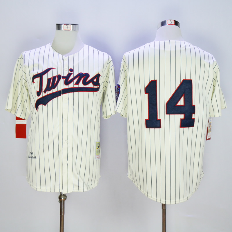 Men Minnesota Twins 14 Hrbek Cream Throwback 1969 MLB Jerseys