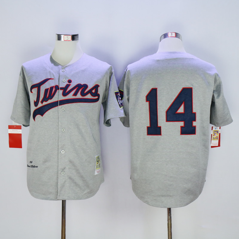 Men Minnesota Twins 14 Hrbek Grey Throwback 1969 MLB Jerseys