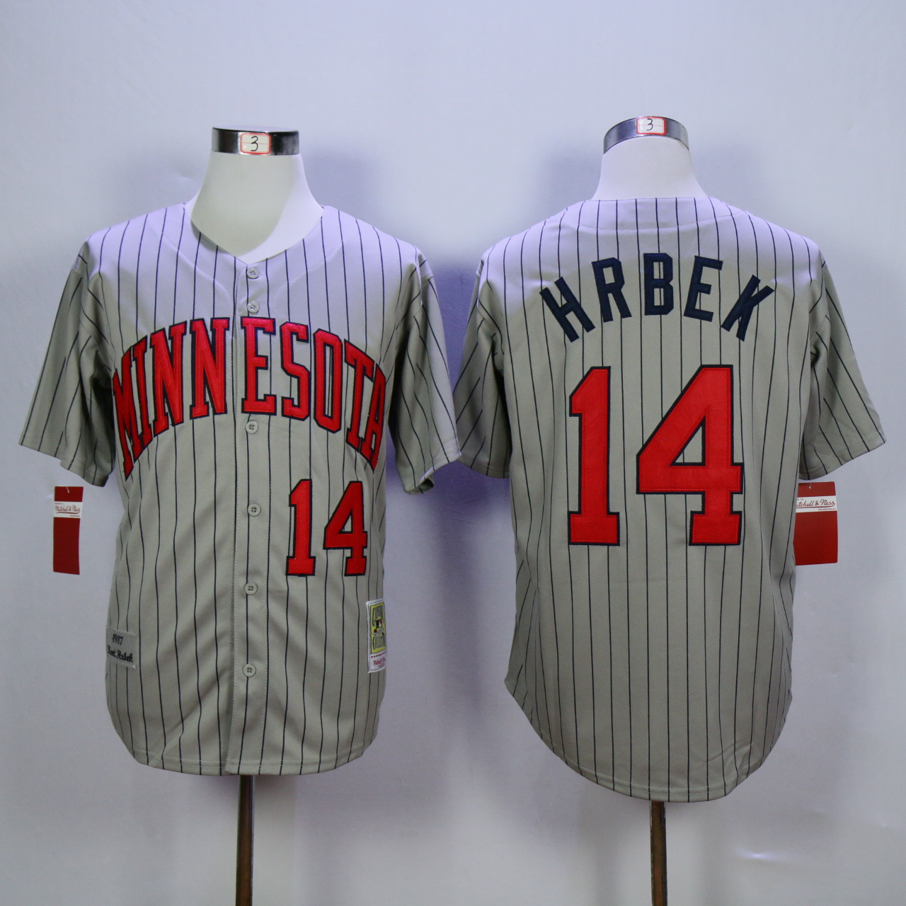 Men Minnesota Twins 14 Hrbek Grey Throwback 1987 MLB Jerseys