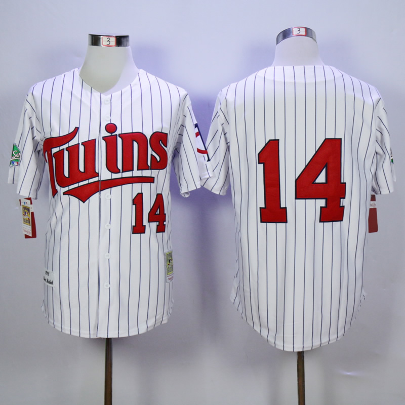 Men Minnesota Twins 14 Hrbek White Throwback 1991 MLB Jerseys