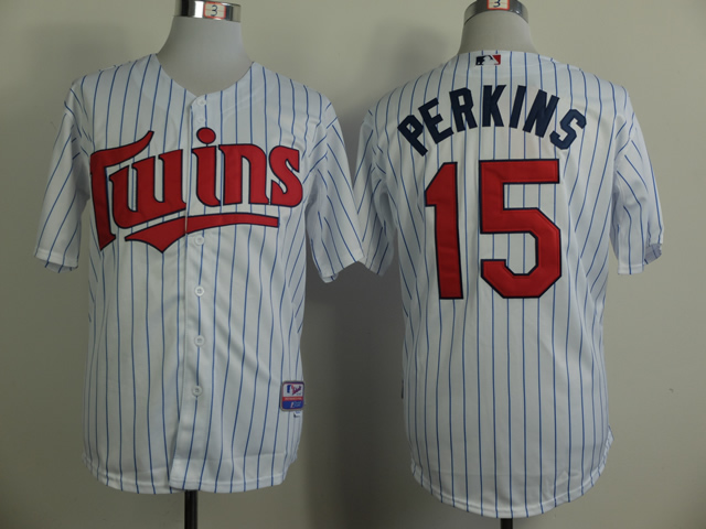 Men Minnesota Twins 15 Perkins White MLB Jerseys