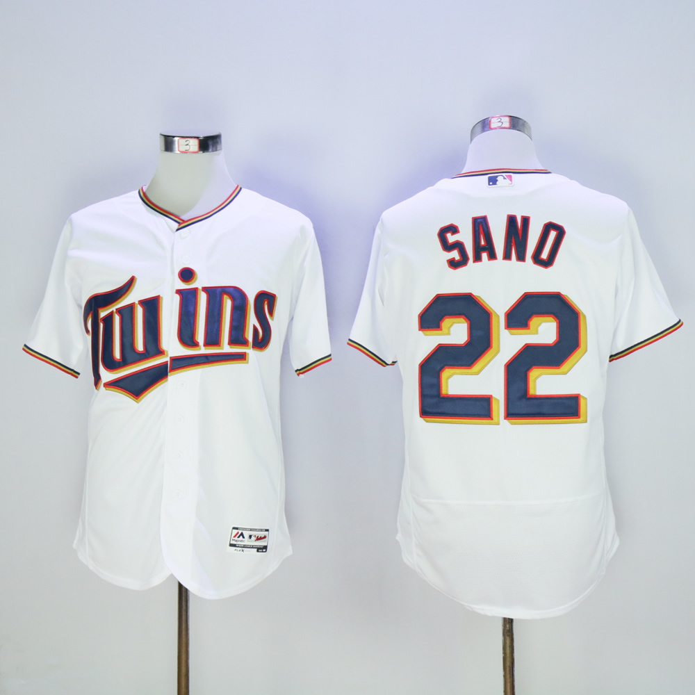 Men Minnesota Twins 22 Sano White MLB Jerseys